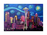 Starry Night in Seattle Space Needle with Van Go Photographic Print by Martina Bleichner