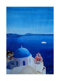 All Blue Santorini Oia Greece With Cruise Ship Photographic Print by Markus Bleichner