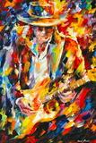 Stevie Ray Vaughan Fotografisk trykk av Leonid Afremov