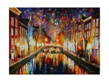 Night Amsterdam Photographic Print by Leonid Afremov