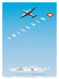 Swiss Alps - Swissair DC-4 - The Airline of Switzerland Prints by Hermann Eidenbenz