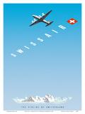 Swiss Alps - Swissair DC-4 - The Airline of Switzerland Affischer av Hermann Eidenbenz
