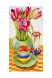 Striped Cup with Saucer, Vase and Tulips Impression giclée par Joan Thewsey