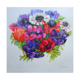 Anemones: Red, White, Pink and Purple Giclee Print by Joan Thewsey