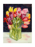 Tulips and Bluebells in a Rectangular Glass Tub, 2001 Impression giclée par Joan Thewsey