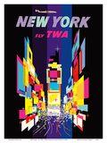 New York - Fly TWA - Times Square - Lockheed Constellation Connie Plakater af David Klein