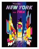 New York - Fly TWA - Times Square - Lockheed Constellation Connie Giclée-tryk af David Klein