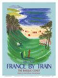 Discover France by Train - The Basque Coast - French National Railways Posters af Bernard Villemot