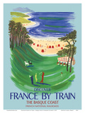 Discover France by Train - The Basque Coast - French National Railways Print by Bernard Villemot