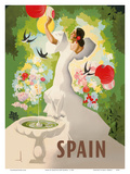 Spain - Spanish Dancer with Fountain and Birds Art by Marcias José Morell