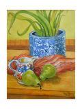 Blue and White Pot, Jug and Pears Giclee Print by Joan Thewsey