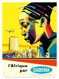 Africa by Sabena (l'Afrique par Sabena) - Sabena Belgian World Airlines Plakater af Gaston van den Eynde