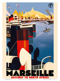 Marseille, France - Gateway to North Africa - Paris-Lyon-Mediterrannee (PLM), French Railroad Poster by Roger Broders