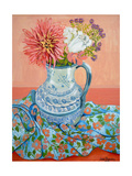 Dahlias, Roses and Michaelmas Daisies Giclee Print by Joan Thewsey
