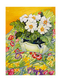 Pale Primrose in a Pot with Spring-Flowered Textile, 2000 Impression giclée par Joan Thewsey