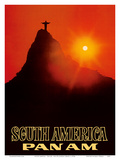 South America - Pan American World Airways - Rio De Janerio, Brazil - Christ the Redeemer Statue Prints by  Pacifica Island Art