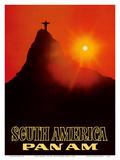 South America - Pan American World Airways - Rio De Janerio, Brazil - Christ the Redeemer Statue Posters por  Pacifica Island Art