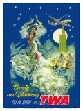 Spain - Beauty and Harmony - Fly to Spain on TWA (Trans World Airlines) Posters by Pere Clapera