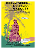 Johannesburg to Lourenço Marques (Maputo) Mozambique - South African Airways Prints by  Pacifica Island Art