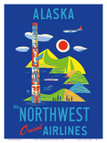 Alaska - Fly Northwest Orient Airlines Posters by  Pacifica Island Art