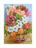 Petunias, Geraniums and Fuchsias Impression giclée par Joan Thewsey
