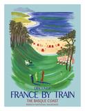 Discover France by Train - The Basque Coast - French National Railways Giclee-vedos tekijänä Bernard Villemot