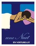 A Night in a Sleeper Car Train (Une Nuit en Voiture-lit) - French National Railways SNCF Lámina giclée por Bernard Villemot
