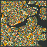 Boston Map Art by Jazzberry Blue