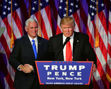 President-elect Donald Trump with Gov. Mike Pence addresses supporters at event 11/8/16, NYC Photo