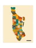 Manhattan Typographic Map Premium Giclee Print by Jazzberry Blue