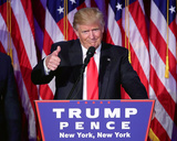President-elect Donald Trump gives thumbs up during acceptance speech at event 11/9/16, NYC Photo