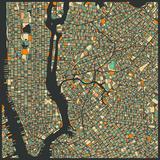 Manhattan Map Giclee-tryk i høj kvalitet af Jazzberry Blue