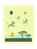Flock of Zebras Premium Giclee Print by Jazzberry Blue