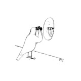 Bird looks at itself in the mirror with binoculars. - New Yorker Cartoon Premium Giclee Print by Liana Finck