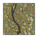 Budapest Map Premium Giclee Print by Jazzberry Blue