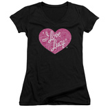Juniors: I Love Lucy- Floral Logo V-Neck T-Shirt