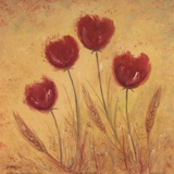Red Tulips and Wheat Art by Serena Sussex