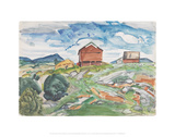 Red Barns and Jump Mountain [Rockbridge Baths] Giclee Print by Pierre Daura