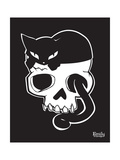 Cat On Skull Print by  Emily the Strange