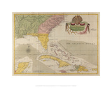Map of Carolina, Florida, and the Bahama Islands Giclee Print by Mark Catesby