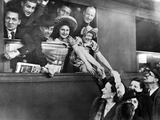 A French Theater Company Leaving the Train Station of Paris, 1943 Photographic Print by  Süddeutsche Zeitung Photo