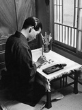 Japanese Olympic Athlete Kohei Murakoso Practicing Calligraphy, 1937 Photographic Print by Knorr Hirth Süddeutsche Zeitung Photo