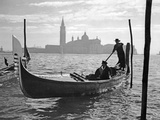 Gondolier in Front of San Giorgio Maggiore in Venice, 1939 Photographic Print by  Süddeutsche Zeitung Photo
