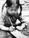 Chinese Girl Writing, 1940 Photographic Print by  Süddeutsche Zeitung Photo