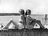 Two Young Women Posing at the Wannsee, 1939 Photographic Print by  Süddeutsche Zeitung Photo