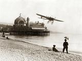 Airplane on the Beach of Nice, 1914 Photographic Print by Scherl Süddeutsche Zeitung Photo