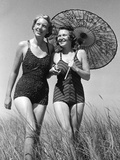 Women with a Parasol, 1939 Photographic Print by  Süddeutsche Zeitung Photo