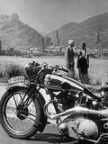A Motorcycle Trip Alongside the Rhein River, 1936 Fotografisk tryk af Scherl Süddeutsche Zeitung Photo