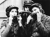 Women of the Auxiliary Territorial Service (Ats) in France Playing Harmonica, 1939 Photographic Print by  Süddeutsche Zeitung Photo