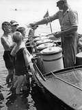 Iceman Selling Ice-Cream from Aboard a Boat on the Lange See Near Berlin, 1930s Photographic Print by Scherl Süddeutsche Zeitung Photo
